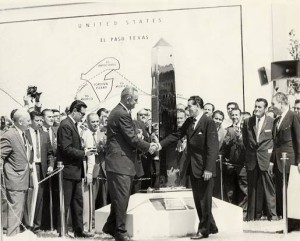 Settlement of the Chamizal Issue. American President Lyndon Johnson meeting Mexican President A.Lopez-Mateos, September 25, 1964.