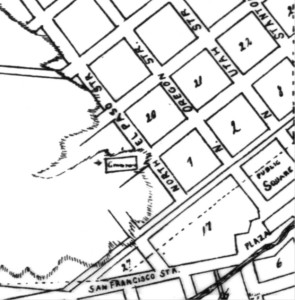 """Figure 2. City Engineer Map. This close-up of a map by Juan Hart places the city cemetery (depicted as a rectangle) on a hillside one block east of where it is depicted on the Mills Plat. The word """"cemetery"""" is written inside the rectangle but it is too smudged to read clearly. The map was probably drawn around 1883 and certainly before 1888, as the name El Paso del Norte is used instead of Ciudad Juárez. It is not known whether this cemetery is the original Campo Santo or another burial ground just east of the original one. Courtesy of the El Paso County Historical Society."""