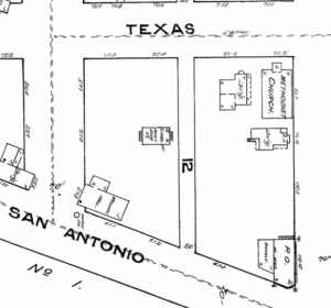 """Figure 3. Sanborn Map of 1883. The Masonic Lodge No. 130 constructed a two-story building at the corner of San Antonio and Mesa Avenue (Utah Street), next to the original Masonic cemetery. The Lone Star (January 26, 1884) refers to a temporary school house """"under the charge of Miss Mary Gates in a room adjoining the Masonic ceme¬tery."""" This school house can be seen just north of the Masonic Lodge building, so the cemetery must have adjoined them both. Courtesy of UTEP Library Special Collections."""