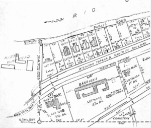 Figure 4. Fort Bliss at Hart's Mill. This is close-up of the 1893 Fort Bliss plat shows a small triangular cemetery at the lower edge of the base. The plat is oriented eastward toward the Rio Grande. Courtesy of the El Paso County Records Office.