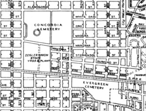 Figure 5. Map of El Paso in 1953. Concordia and Evergreen Cemeteries are remarkably close together. This sense of proximity was lost when Interstate-10 was built between them in the 1960s. Courtesy of the El Paso County Historical Society