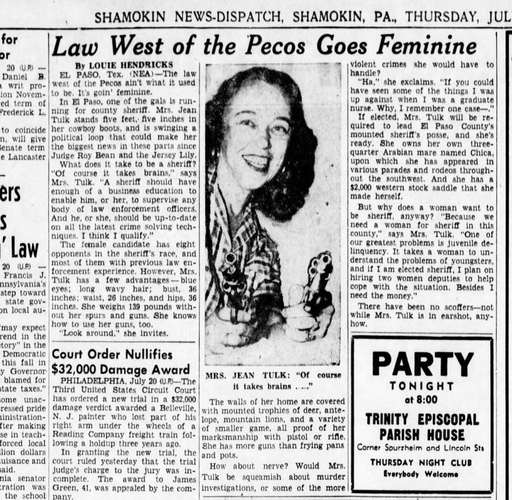 jean running for El Paso sheriff in 1950